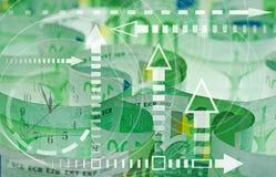 Euro bankbiljettenclose-up en grafiek Stock Fotografie