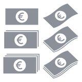 Euro bankbiljettenpictogrammen Royalty-vrije Stock Fotografie