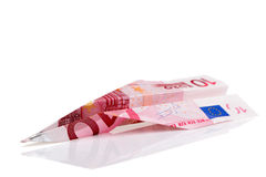 Euro bankbiljetvliegtuig stock afbeeldingen