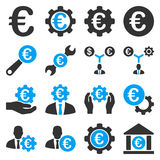 Euro banking business and service tools icons. These flat bicolor icons use blue and gray colors. Images are  on a white background. Angles are rounded Royalty Free Stock Images