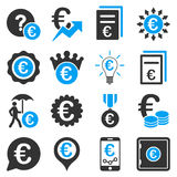 Euro banking business and service tools icons. These flat bicolor icons use blue and gray colors. Images are  on a white background. Angles are rounded Royalty Free Stock Photo
