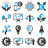 Euro banking business and service tools icons Stock Photo