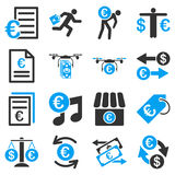 Euro banking business and service tools icons. These flat bicolor icons use blue and gray colors. Images are  on a white background. Angles are rounded Royalty Free Stock Image