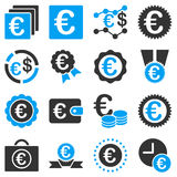 Euro banking business and service tools icons. These flat bicolor icons use blue and gray colors. Images are  on a white background. Angles are rounded Stock Photos