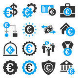 Euro banking business and service tools icons. These flat bicolor icons use blue and gray colors. Images are  on a white background. Angles are rounded Stock Photography