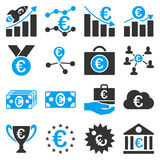Euro banking business and service tools icons. These flat bicolor icons use blue and gray colors. Images are on a white background. Angles are rounded royalty free illustration