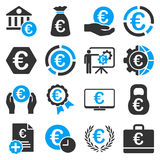 Euro banking business and service tools icons. These flat bicolor icons use blue and gray colors. Images are  on a white background. Angles are rounded Royalty Free Stock Photos