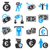 Euro banking business and service tools icons. These flat bicolor icons use blue and gray colors. Images are  on a white background. Angles are rounded Stock Images