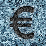 Euro Banking Industry. Currency machine as a financial business concept with the money icon from the European union partnership made of gears and cogwheels as a Stock Photography