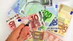 Euro banknoes for economists stock video