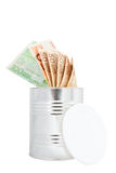 Euro banknontes in metal jar. Euro banknontes in metal jar with opened cap. Isolated on white background Stock Photo