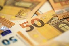 50 euro banknotów Zdjęcia Stock