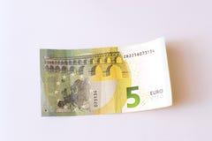 5 euro banknotów Zdjęcia Stock