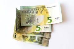 5 euro banknotów Zdjęcie Royalty Free