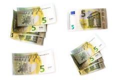 5 Euro banknotów ustawiających Zdjęcie Royalty Free
