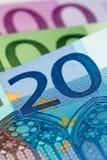 Euro banknotów zamknięty up Fotografia Royalty Free