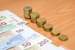 Euro banknot i monety Zdjęcie Royalty Free