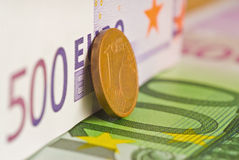 euro banknot monety Obrazy Stock