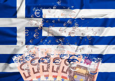 50 euro banknot rozpuszcza jako pojęcie kryzys gospodarczy w g Zdjęcia Stock