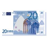 Euro banknote. 20 euro banknote vector illustration isolated over white background Royalty Free Stock Photos
