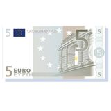 Euro banknote. 5 euro banknote vector illustration isolated over white background Stock Photos