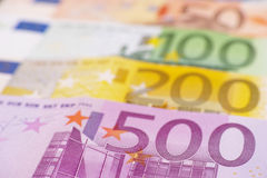 Euro banknote abstract. Euro banknotes with selective focus for your financial, bonus, cashback, gifts and presents copy - note, that the money is real and used Stock Images