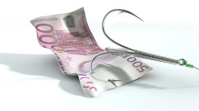 Euro Banknote Baited Hook Stock Image
