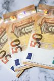 50 euro banknote close up on marbel background royalty free stock photo
