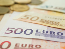 euro banknote and coin Stock Photo