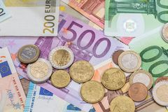 Euro banknote and coins as money Royalty Free Stock Photography