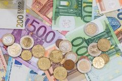 Euro banknote and coins as money Stock Photography