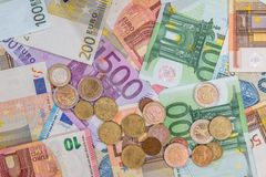 Euro banknote and coins as money finance Stock Image