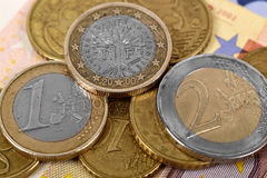 Euro Banknote and Coins Stock Photos