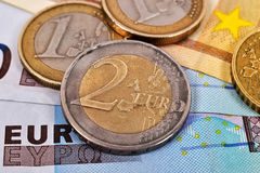 Euro Banknote and Coins Royalty Free Stock Photography