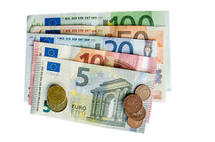 euro banknote with coins isolated Stock Images