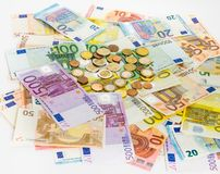Euro banknote and coins money  finance concept cash on white bac Royalty Free Stock Photos