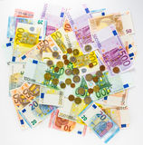Euro banknote and coins money  finance concept cash on white bac Royalty Free Stock Photo