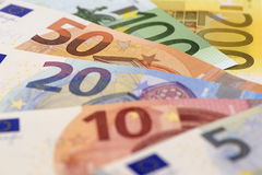 Euro banknote and currency of Europe Stock Photos