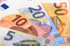 Euro banknote and currency of Europe Stock Images