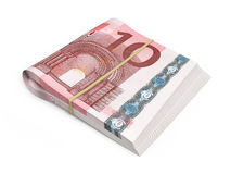 10 euro banknote. 3D render Ten euro banknotes stacks isolated and clipping path Royalty Free Illustration