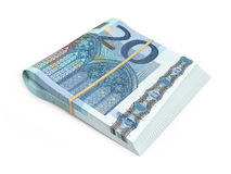 20 euro banknote. 3D render Twenty Euro banknotes stacks isolated and clipping path Stock Image