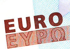 Euro. Banknote detail from 20  banknote Royalty Free Stock Photo