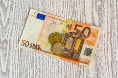 Euro banknote and euro coins Royalty Free Stock Image