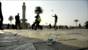 100 Euro banknote on the floor. stock footage