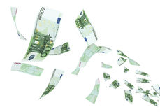 100 Euro banknote Flying. 3d render Fly Hundred euro banknotes close-up (isolated on white and clipping path royalty free illustration