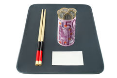 Euro banknote in the form of sushi stuffed with co Stock Images