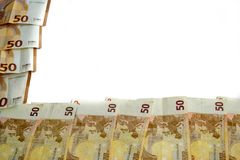 50 euro banknote frame stock photography