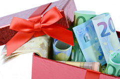 Euro banknote in gift box Stock Image