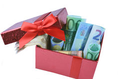 Euro banknote in gift box Royalty Free Stock Image