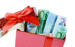 Euro banknote in gift box Royalty Free Stock Images